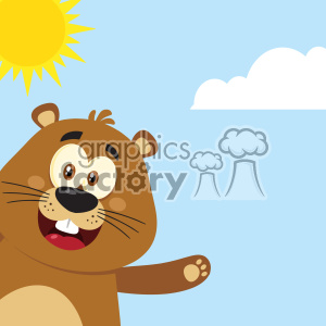 10636 Royalty Free RF Clipart Cute Marmot Cartoon Mascot Character Waving From Corner Vector Flat Design With Background