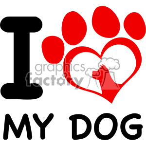 10706 Royalty Free RF Clipart Red Heart Paw Print With Claws And Dog Head Silhouette Logo Design Vector With Text I love My Dog