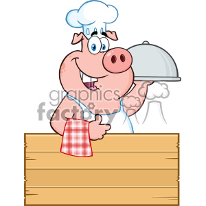 10717 Royalty Free RF Clipart Chef Pig Cartoon Mascot Character With A Cloche Platter Over A Wooden Sign Giving A Thumb Up Vector Illustration clipart. Commercial use image # 403477
