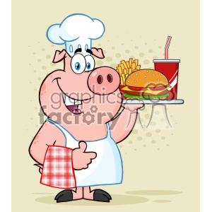 10726 Royalty Free RF Clipart Chef Pig Cartoon Mascot Character Holding A Tray Of Fast Food And Giving A Thumb Up Vector Over Halftone Background clipart. Commercial use image # 403482