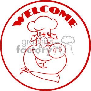 10731 Royalty Free RF Clipart Winking Chef Pig Cartoon Mascot Character Red Circle Banner With Text Welcome Vector Illustration