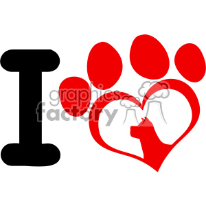 10706 Royalty Free RF Clipart I Love With Red Heart Paw Print With Claws And Dog Head Silhouette Logo Design Vector Illustration