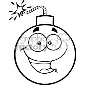 10811 Royalty Free RF Clipart Black And White Happy Bomb Face Cartoon Mascot Character With Expressions Vector Illustration clipart. Commercial use image # 403517