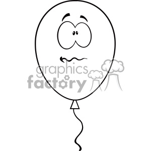 10742 Royalty Free RF Clipart Nervous Black And White Balloon Cartoon Mascot Character Vector Illustration