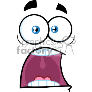 10871 Royalty Free RF Clipart Scared Cartoon Funny Face With Panic Expression Vector Illustration