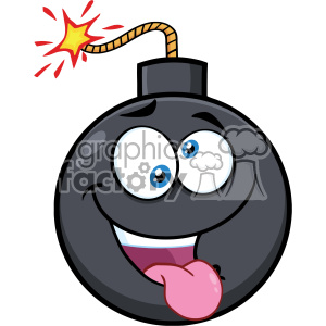 10828 Royalty Free RF Clipart Crazy Bomb Face Cartoon Mascot Character With Expressions Vector Illustration