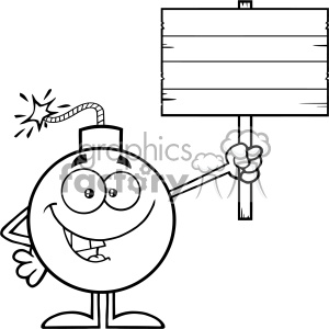 10803 Royalty Free RF Clipart Black And White Smiling Bomb Cartoon Mascot Character Holding A Wooden Blank Sign Vector Illustration