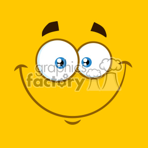 10892 Royalty Free RF Clipart Smiling Cartoon Square Emoticons With Happy Expression Vector With Yellow Background clipart. Commercial use image # 403557