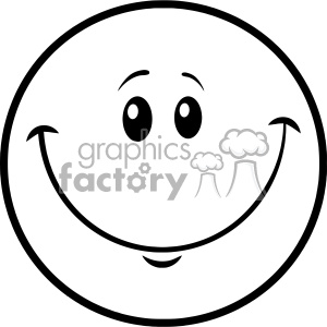 10837 Royalty Free RF Clipart Black And White Smiley Face Cartoon Character Vector Illustration