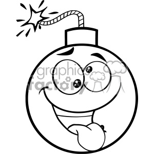 10827 Royalty Free RF Clipart Black And White Crazy Bomb Face Cartoon Mascot Character With Expressions Vector Illustration