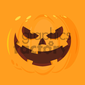 Evil Halloween Pumpkin Cartoon Emoji Face Character Vector Illustration Flat Design Style With Background clipart. Royalty-free image # 403950