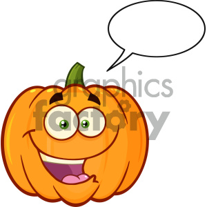 Happy Orange Pumpkin Vegetables Cartoon Emoji Face Character With Expression With Speech Bubble clipart. Commercial use image # 403961