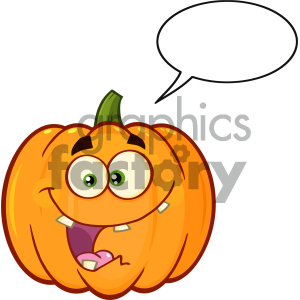 Crazy Orange Pumpkin Vegetables Cartoon Emoji Face Character With Expression With Speech Bubble clipart. Royalty-free image # 403966