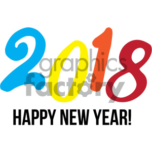 happy new year 2018 clipart. Commercial use image # 404014