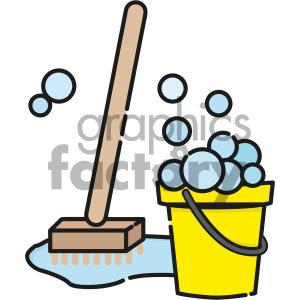 cartoon art brush bucket water mop bubbles cleaning maid