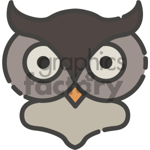 owl head vector art clipart. Commercial use image # 404134