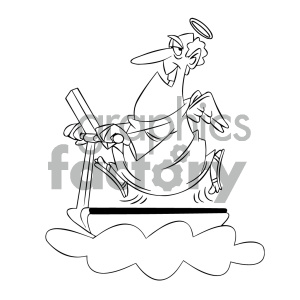 black and white cartoon angel on a treadmill clipart. Royalty-free image # 404168