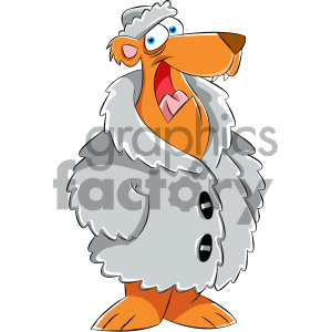cartoon bear wearing a fur coat clipart. Royalty-free image # 404176