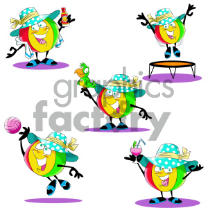 cartoon beach ball character set clipart. Commercial use image # 404186