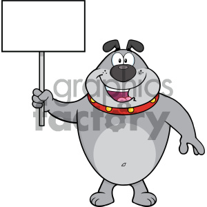 Royalty Free RF Clipart Illustration Happy Gray Bulldog Cartoon Mascot Character Holding A Blank Sign Vector Illustration Isolated On White Background clipart. Royalty-free image # 404209