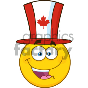 Royalty Free RF Clipart Illustration Happy Patriotic Yellow Cartoon Emoji Face Character Wearing A Canadian Maple Leaf Hat Vector Illustration Isolated On White Background clipart. Royalty-free image # 404266