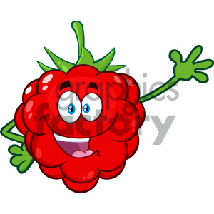 Royalty Free RF Clipart Illustration Happy Raspberry Fruit Cartoon Mascot Character Waving For Greeting Vector Illustration Isolated On White Background clipart. Royalty-free image # 404302