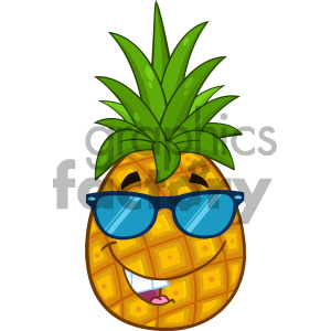 Royalty Free RF Clipart Illustration Smiling Pineapple Fruit With Green Leafs And Sunglasses Cartoon Mascot Character Design Vector Illustration Isolated On White Background clipart. Commercial use image # 404313