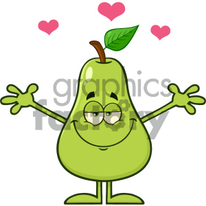 Royalty Free RF Clipart Illustration Pear Fruit With Green Leaf Cartoon Mascot Character With Hearts And Open Arms For Hugging Vector Illustration Isolated On White Background clipart. Royalty-free image # 404320