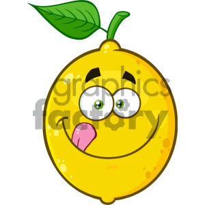 Royalty Free RF Clipart Illustration Smiling Yellow Lemon Fruit Cartoon Emoji Face Character Licking His Lips Vector Illustration Isolated On White Background clipart. Commercial use image # 404325
