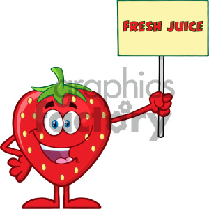 Royalty Free RF Clipart Illustration Happy Strawberry Fruit Cartoon Mascot Character Holding A Sign With Text Fresh Juice Vector Illustration Isolated On White Background clipart. Royalty-free image # 404390
