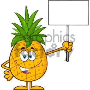 Royalty Free RF Clipart Illustration Talking Pineapple Fruit With Green Leafs Cartoon Mascot Character Holding A Blank Sign Vector Illustration Isolated On White Background clipart. Royalty-free image # 404400