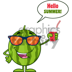 Green Watermelon Fresh Fruit Cartoon Mascot Character With Sunglasses Holding A Glass Of Juice Vector Hello Summer clipart. Commercial use image # 404412