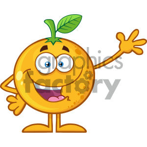 Royalty Free RF Clipart Illustration Happy Orange Fruit Cartoon Mascot Character Waving For Greeting Vector Illustration Isolated On White Background clipart. Commercial use image # 404413