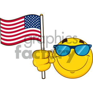 Royalty Free RF Clipart Illustration Smiling Yellow Cartoon Emoji Face Character With Sunglasses Waving An American Flag Vector Illustration Isolated On White Background clipart. Royalty-free image # 404470