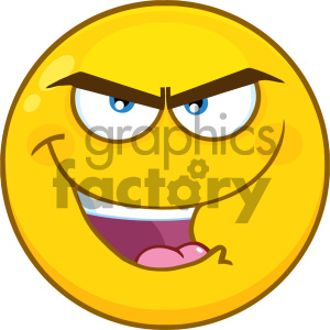 Royalty Free RF Clipart Illustration Evil Yellow Cartoon Smiley Face Character With Bitchy Expression Vector Illustration Isolated On White Background clipart. Royalty-free image # 404484