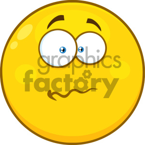 Royalty Free RF Clipart Illustration Nervous Yellow Cartoon Smiley Face Character With Confused Expression Vector Illustration Isolated On White Background clipart. Royalty-free image # 404502