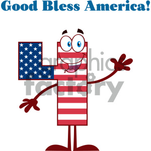 Happy Patriotic Number Four In American Flag Cartoon Mascot Character Waving For Greeting And Text Good Bless America clipart. Royalty-free image # 404518