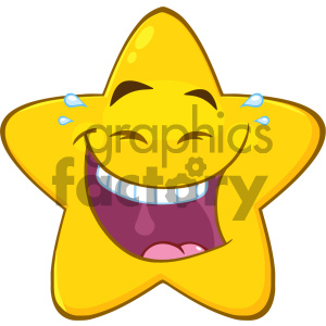 Royalty Free RF Clipart Illustration Happy Yellow Star Cartoon Emoji Face Character With Laughing Expression Vector Illustration Isolated On White Background clipart. Commercial use image # 404525