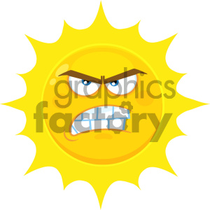Royalty Free RF Clipart Illustration Angry Yellow Sun Cartoon Emoji Face Character With Aggressive Expressions Vector Illustration Isolated On White Background clipart. Commercial use image # 404539