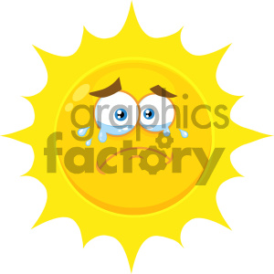Royalty Free RF Clipart Illustration Crying Yellow Sun Cartoon Emoji Face Character With Tears Vector Illustration Isolated On White Background clipart. Royalty-free image # 404540