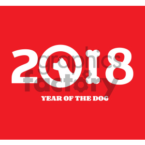 Clipart Illustration Year Of Dog 2018 Numbers Design With Dog Head Silhouette And Bone Vector Illustration Over Red Background 1 clipart. Royalty-free image # 404570