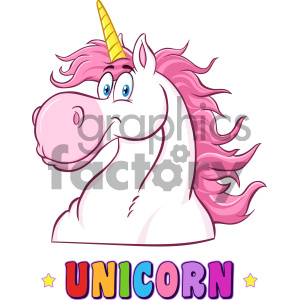 Clipart Illustration Smiling Magic Unicorn Head Classic Cartoon Character Vector Illustration Isolated On White Background With Text clipart. Royalty-free image # 404580