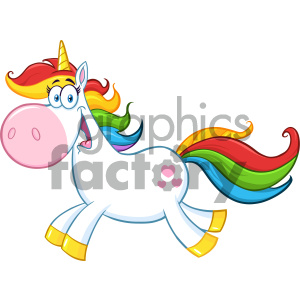 Clipart Illustration Cute Magic Unicorn Cartoon Mascot Character Running Vector Illustration Isolated On White Background 1