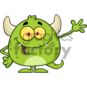 Happy Green Monster Cartoon Emoji Character Waving For Greeting Vector Illustration Isolated On White Background clipart. Commercial use image # 404600