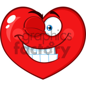 Smiling Red Heart Cartoon Emoji Face Character With Wink Expression Vector Illustration Isolated On White Background clipart. Royalty-free image # 404610