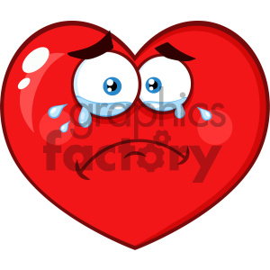 Crying Red Heart Cartoon Emoji Face Character With Sad Expression Vector Illustration Isolated On White Background clipart. Royalty-free image # 404612
