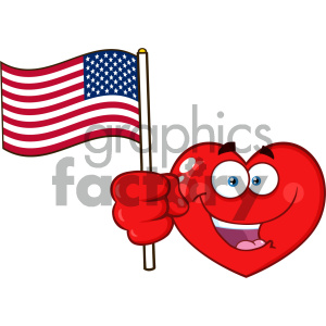 Happy Red Heart Cartoon Emoji Face Character Holding An American Flag Vector Illustration Isolated On White Background clipart. Commercial use image # 404620