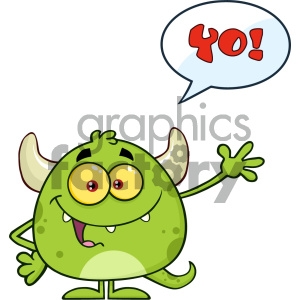 Happy Green Monster Cartoon Emoji Character Waving For Greeting With Speech Bubble And Text Yo! Vector Illustration Isolated On White Background clipart. Commercial use image # 404622