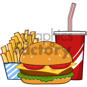 Fast Food Hamburger Drink And French Fries Cartoon Drawing Simple Design Vector Illustration Isolated On White Background clipart. Commercial use image # 404650