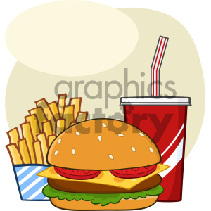 Fast Food Hamburger Drink And French Fries Cartoon Drawing Simple Design Vector Illustration Isolated On White Background